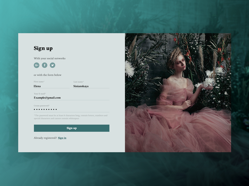 "Sign up form ""Woman With Flowers"" form design form field daily ui challenge daily ui 001 dailyui sign in form sign in sign up signup form banner beautiful website design concept webdesign web uiux ux ui"