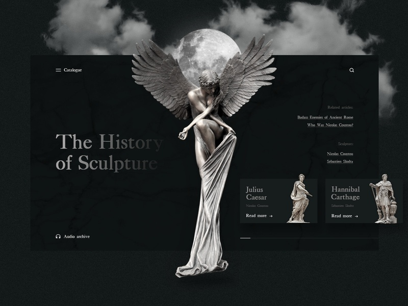 The History of Sculpture dark colors caesar marble marbled dark moon statues angel history sculpture banner beautiful website concept webdesign web uiux ux ui design