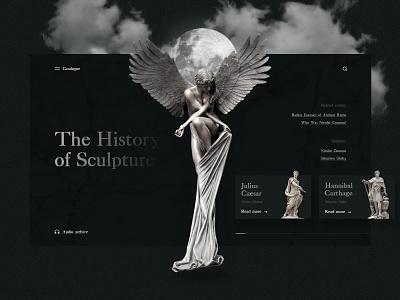 The History of Sculpture dark colors caesar marble marbled dark moon statues angel history sculpture banner beautiful website concept webdesign web uiux ux ui design
