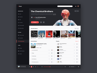 Music dashboard chemical brothers music dashboard music dashboard design dashboard ui dashboad website webdesign web concept uiux ux ui design