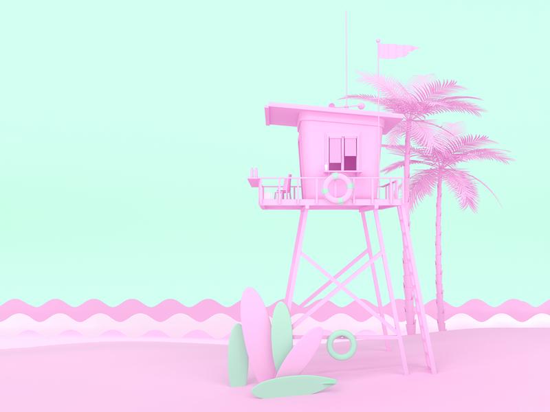 3D illustration for poster summer poster design 3d illustration poster