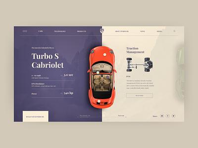 Porsche Turbo S Cabriolet clear design adobe tipography invitation first design cabriolet car porsche figma ux ui design