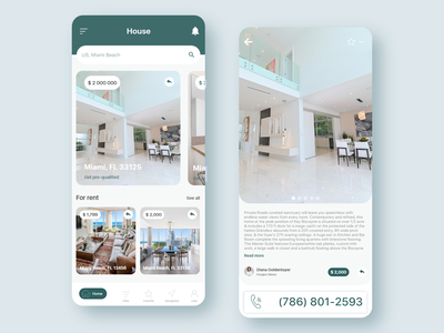 Buy for sale and rent App mobile ux clean ui home page for sale green ui ux ui home app minimal interior home clean app house