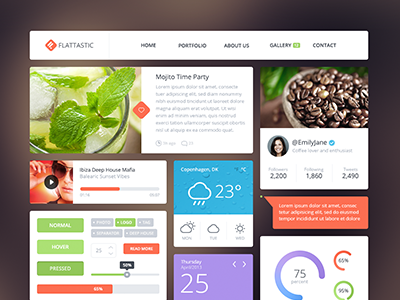 Flattastic Free flat ui gui free psd interface web elements ui kit kit
