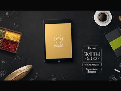 Workspace Tablet Mock-up: Hipster Cafe psd up mock mock-up tablet workspace coffee spices organic notebook cookie hipster