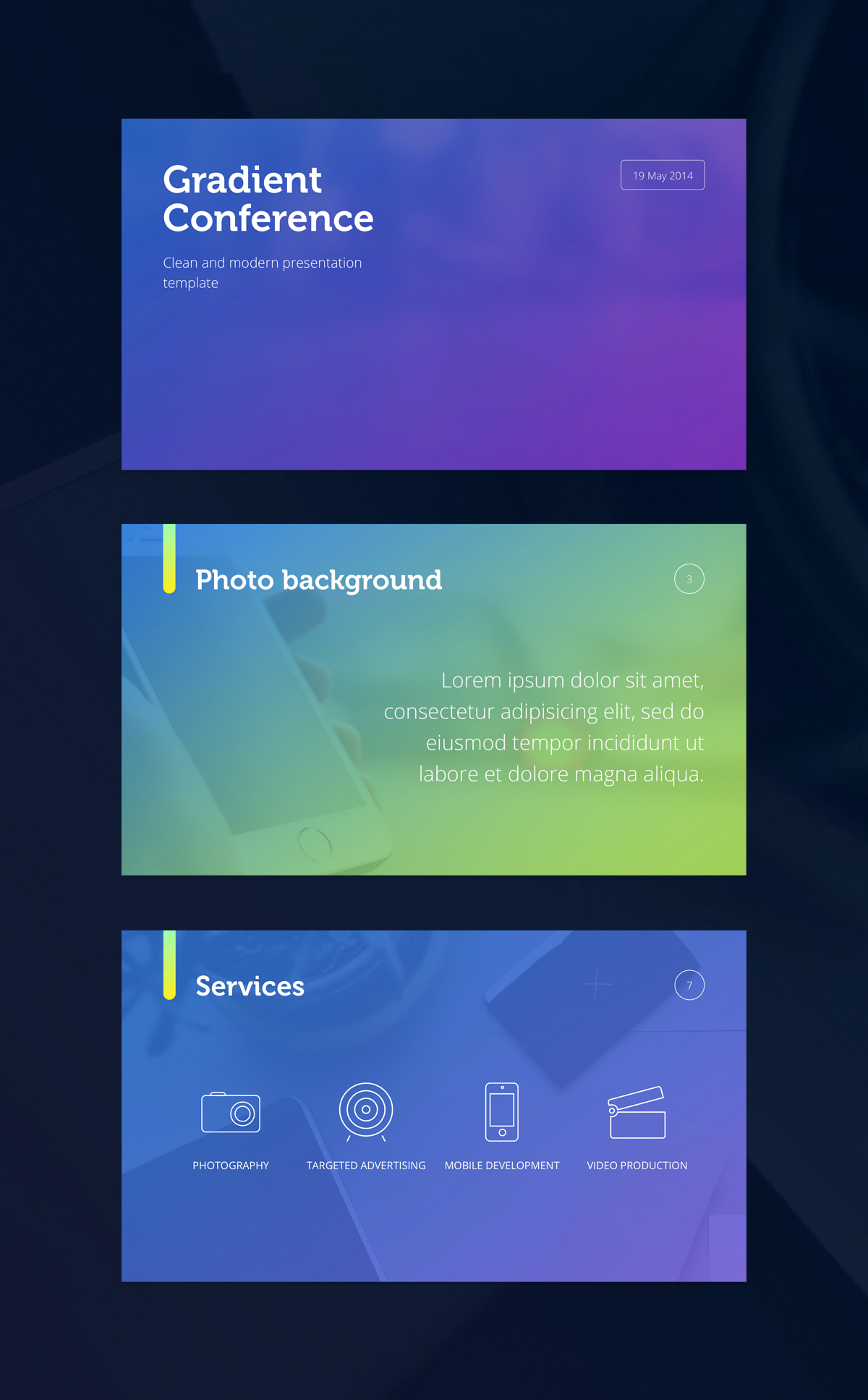 Gradient presentation template large view