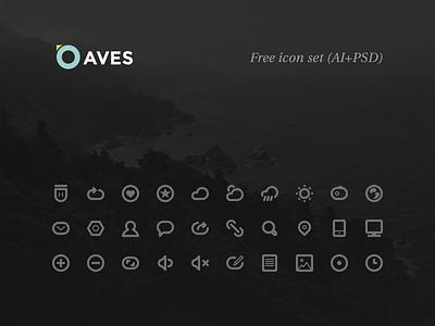 Aves Icon Set (Free AI+PSD) freebie ai kit icon free free psd icons ux ui psd minimalist