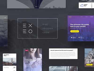 Exeo UI Kit dark modern kit ui kit elements web interface psd gui ui