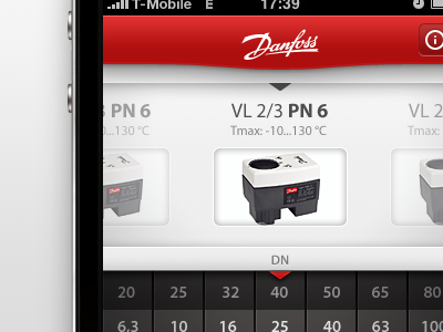 iPhone App Selector Page iphone app gui ui interface red gray