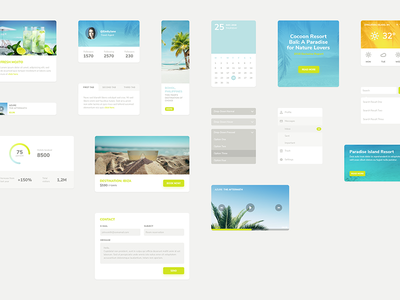 Mojito UI Kit exotic tropical button elements website web beach summer ui kit kit ui mojito