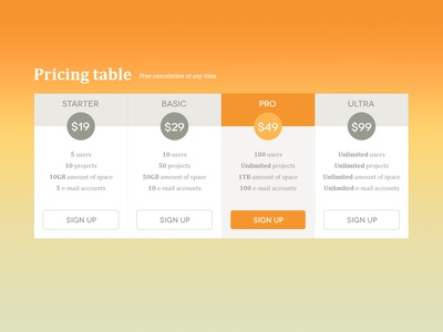 Pricing Table pricing table web website
