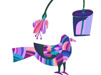 Bird and a pot