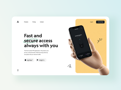 VPN landing page app dark theme typography shot landing design landing page landing vpn website ux ui design