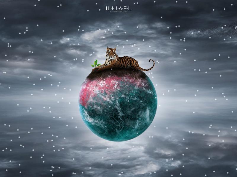 Cuidemos-Salvemos space tiger planet ambient life psd photoshop acreativevisual manipulation design