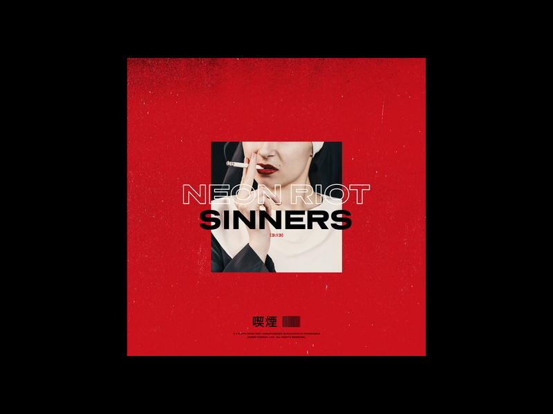 Neon Riot - Sinners cover art album art album artwork synth pop synth pop music cigarette red nun