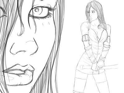 Flixera character sketch codeword deadman katana samurai sword battle suit sword girl drawing photoshop codword deadman sketch illustration