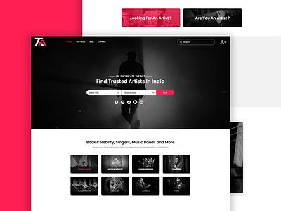 Artist Arena black  white red 2020 trend landing page ui app concept landing page design web photoshop adobe xd flat portfolio ux ui