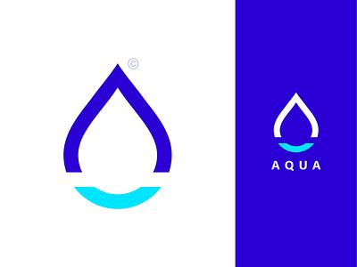 AQUA web icon mark typography logocollection logoconcept logo design drop water aqua flat portfolio ux ui