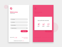 Sign Up app screen concept with social media