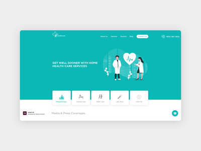 Health Care Services landing page concept landing page ui landing page design physician pharmaceutical hospital medical care adobe xd illustration web health care services webdesign health care ux ui flat web apps portfolio