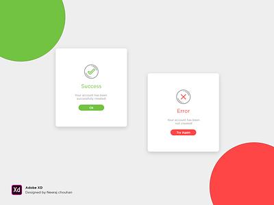Success Error Popup message toast successful user interface user experience ux ux ui popup error success