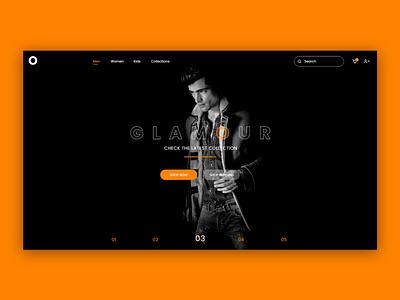 Glamour Fashion typography adobe xd photoshop design flat portfolio ux ui fashion app