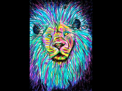 Lion Amazed animal lion wacom wacom intuos adobe 2d art 2d art colorful art hand drawn photoshop