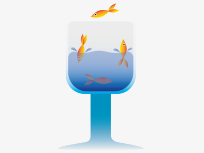 A glass of fish design swimming fish glass water illustration illustrator 2d art 2d