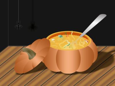 Pumpkin soup soup 2d art 2d illustrator illustration spider halloween pumpkin