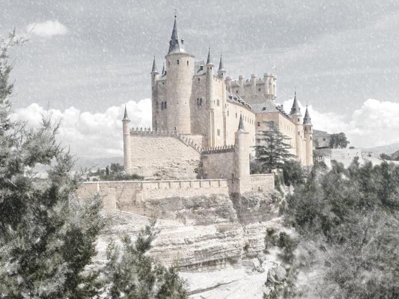 Wish it was snowing.. castle snow flakes winter snow madrid segovia spain photograph 2d 2d art art photoshop