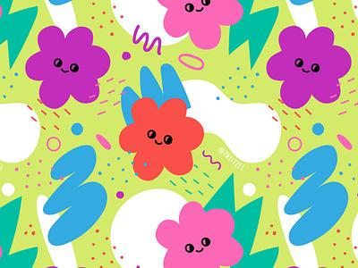 YAYITZEL Blobby Flowers doodles blob shapes yayitzel rainbow pattern kawaii wallpaper coloful icon illustration design vector