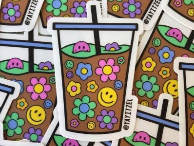 YAYITZEL Flower Power Sticker graphic design stickers merch rainbow yayitzel coloful illustration design vector