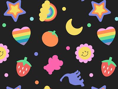 90s Erasers rainbow coloful retro badge wallpaper retro kawaii icon pattern vector design
