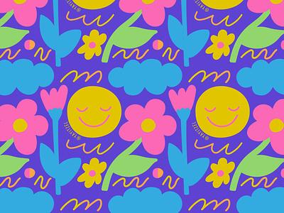 YAYITZEL Blob Flowers textile repeat happy blob doodle yayitzel kawaii rainbow wallpaper pattern coloful icon illustration design vector