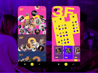 Floor Member. concept ux uiue app colorful profile card member floor concept