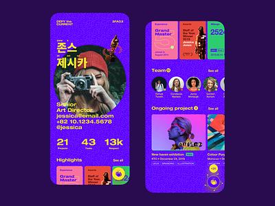 Member Profile. concept card profile design app colorful ui concept