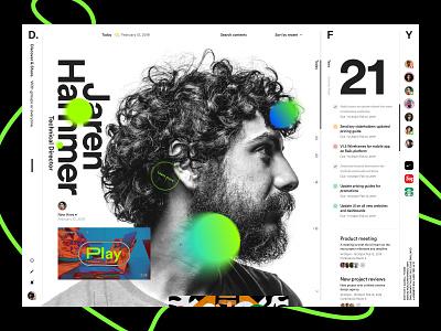 Board. concept green headline culture news sketch feed teamwork task dashboad board design ui concept