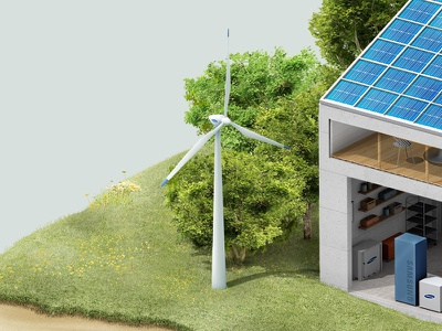 Wind power illust interaction isometric