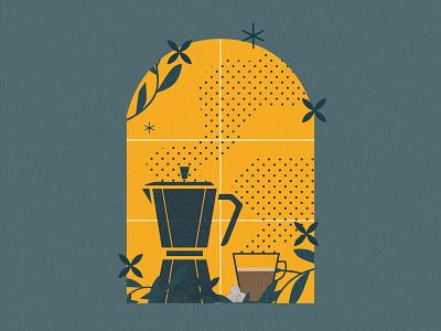 Coffee Illustration cup moka moka pot colors coloful yellow pastel illustration with textures textures adobe illustrator texture illustraiton coffee theme coffee illustration vector minimalism minimal illustraor