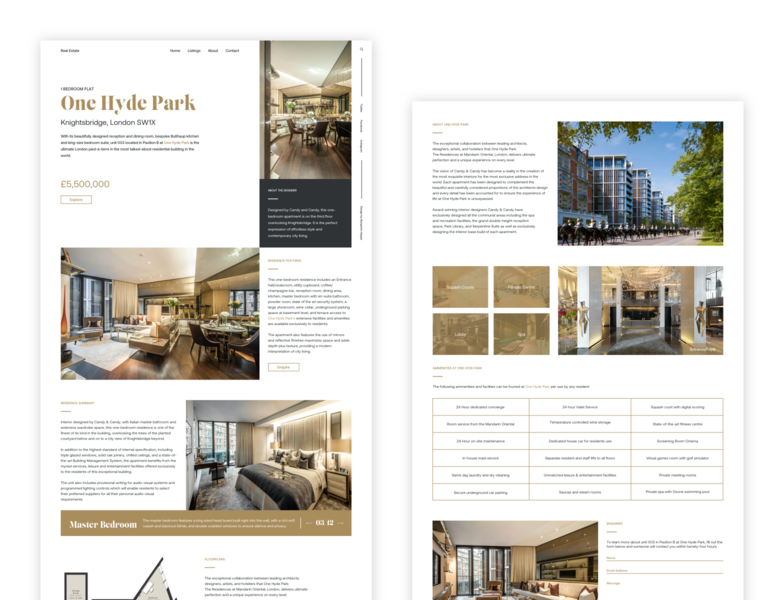 One Hyde Park - Unit Listing sketch grid listing realestate gold luxury web design web minimal design ux ui
