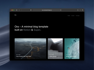 Ora – A minimal blog template webdesign website theme notion