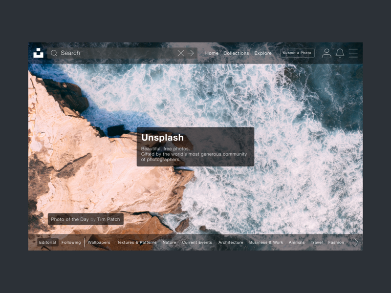 Unsplash concept parallax minimal ux unsplash ui