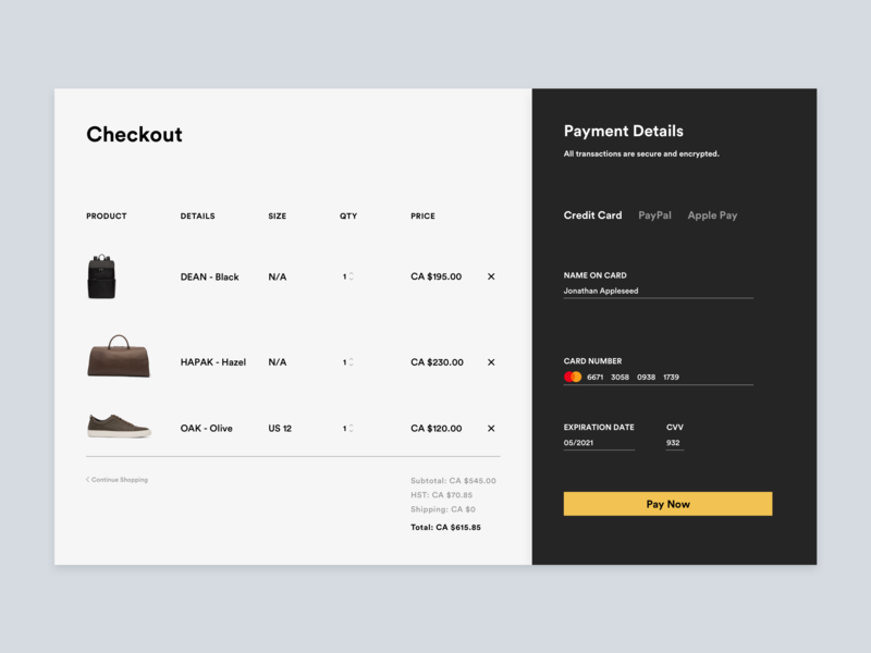 Daily UI 002 webdesign web ux ui design shopify shopping cart payment checkout ecommerce dailyui