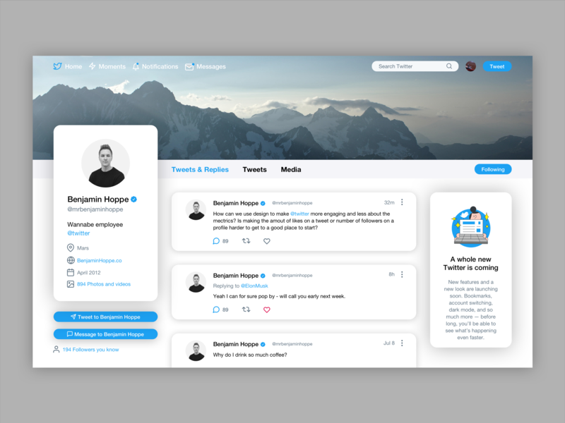 Daily UI 006 - User Profile pt 1 light mode light web design twitter webdesign web minimal design ux ui dailyui