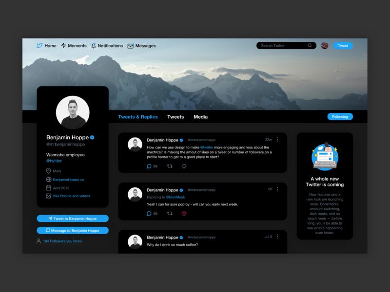 Daily UI 006 - User Profile pt 2 dark theme dark mode dark app dark ui website web app design web app twitter webdesign web minimal design ux ui dailyui