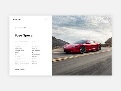 Tesla Roadster Reservation Concept car roadster tesla ui minimal landing concept web design