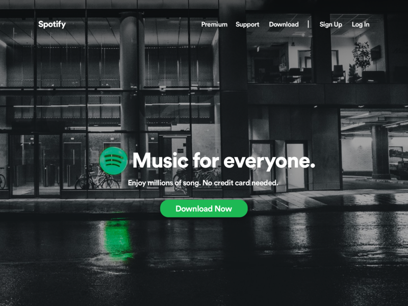 Spotify Landing Page by Benjamin Hoppe on Dribbble