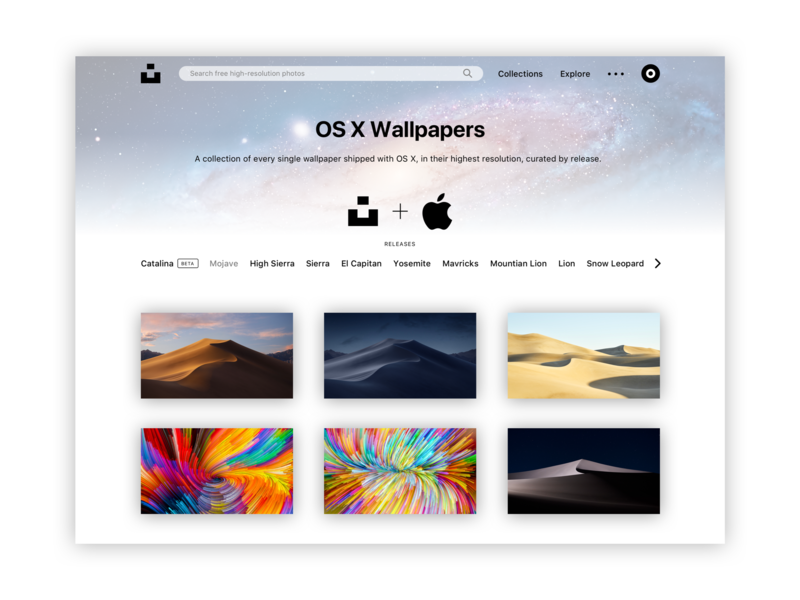 Unsplash + Apple Concept sketch grid layout minimalism macos mac photography wallpaper minimalist ux ui design web design website web apple unsplash minimal