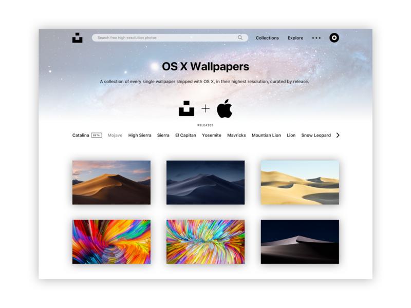 Unsplash + Apple Concept sketch grid layout minimalism macos mac photography wallpaper minimalist ux ui design web design website web apple unsplash minimal