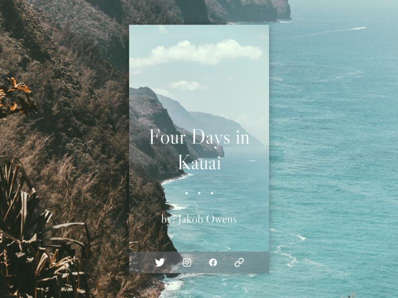 Daily UI 010 - Social Share shadow clean card article water ocean blog dailyui minimal design ux ui